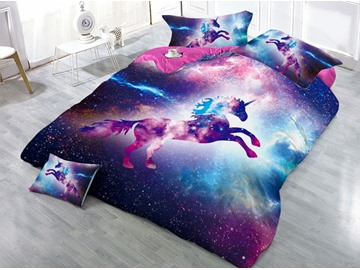 Unicorn and Mysterious Galaxy Printed 3D 4-Piece Bedding Sets/Duvet Covers