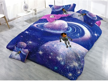 Celestial Body and Astronaut Blue Galaxy Printed 3D 4-Piece Bedding Sets/Duvet Covers