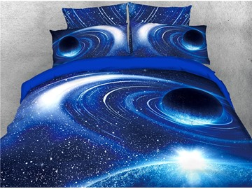 3D Outer Space Planet 4PCS Blue Colorfast Bedding Sets Zipper Duvet Cover with Corner Ties