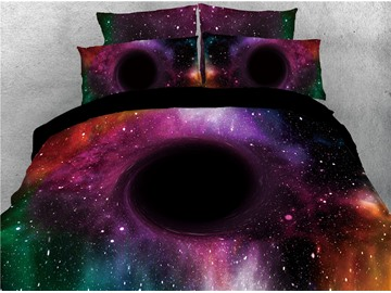 3D Spiral Galaxy Zipper Bedding Sets 4-Piece Colorfast/Wear-resistant/Skin-friendly Duvet Cover with Ties