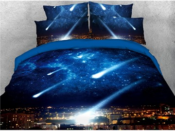 Blue Galaxy and City Night Scene Printed 3D 4-Piece Bedding Sets/Duvet Covers