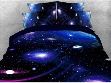 Fascinating Blue Galaxy and Plants Printed 3D 4-Piece Bedding Sets/Duvet Covers