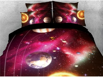 Plants and Dazzling Stars Red Galaxy Printed 3D 4-Piece Bedding Sets/Duvet Covers