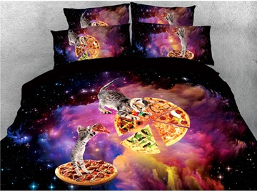 Cats Pizza and Galaxy Printed 4-Piece 3D Bedding Sets/Duvet Covers