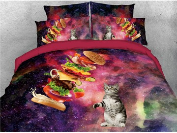 Cat and Hamburger Charming Galaxy Printed 4-Piece 3D Bedding Sets/Duvet Covers
