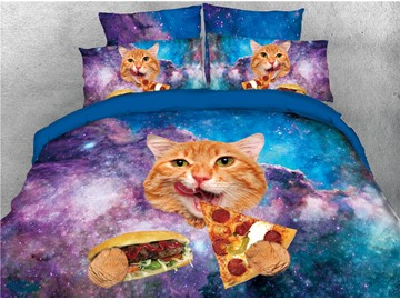 Cat Eating Hamburger Galaxy Printed 4-Piece 3D Bedding Sets/Duvet Covers