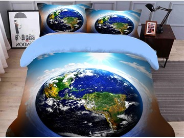Fade Resistant And Hard-wearing Blue Earth Printed 4-Piece 3D Galaxy Bedding Sets/Duvet Covers