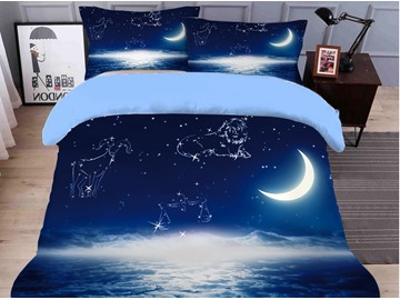 Breathable And Durable Spacecraft Printed 4-Piece 3D Galaxy Bedding Sets/Duvet Covers