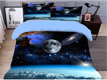 Fadeless and Breathable The Milky Way Printed 4-Piece 3D Galaxy Bedding Sets/Duvet Covers