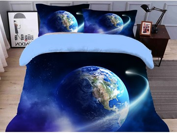 Fadeless Vivid Wandering on The Ball Printed 4-Piece 3D Galaxy Bedding Sets/Duvet Covers