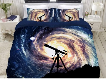 A Telescope To See The Galaxy Soft 3D Printed 4-Piece Polyester Bedding Sets/Duvet Covers