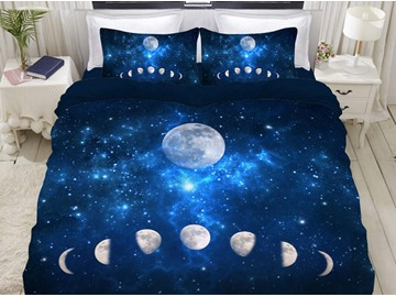 Eclipse of The Moon Blue Galaxy Soft 3D Printed 4-Piece Polyester Bedding Sets/Duvet Covers