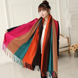 Knited Huge Straps Pattern Tassle Design  Wool Shawl Long Scarf