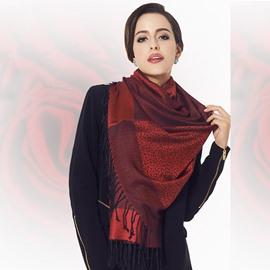 Dark Red Leopard Pattern Tassel Cotton Long Scarf