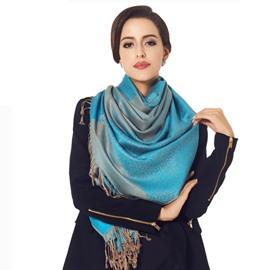 Royal Blue Leopard Pattern Tassel Ends Cotton Long Scarf