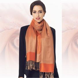 Beautiful Orange Tassel Ends Leopard Cotton Long Scarf