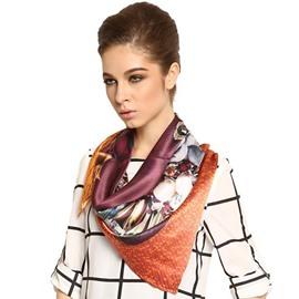 Deluxe Beautiful Flowers and Jewels Print Mulberry Silk Square Scarf