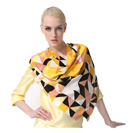 Fashion Yellow Checks Patterns Mulberry Silk Square Scarf