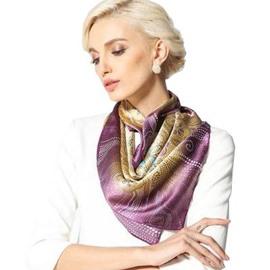 Beautiful Purple Flower and Spot Pattern Beautiful Silk Square Scarf