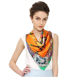 Knights With Four Diamond Orange Beautiful Square Silk Scarf