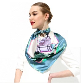 Fashion Element Light Blue Soft Mulberry Silk Square Scarf