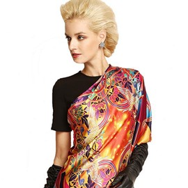 Luxurious Fashion Colorful Flowers and Birds Print Mulberry Silk Square Scarf