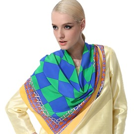 Stylish Blue and Green Checks Pattern Soft Mulberry Silk Square Scarf