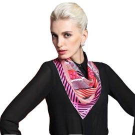 Classic Dots and Strap Design Silk Beautiful Square Scarf
