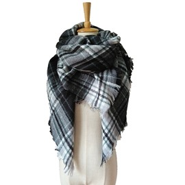 Women's Cozy Plaid Blanket Scarf Warm Cashmere Tartan Wrap Shawl Square Scarves