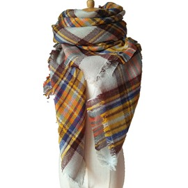 Attractive Rainbow Lattice Design Women's Fashion Warm Cashmere Square Scarves