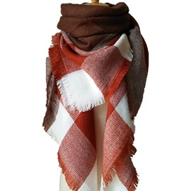 New Spring Women Autumn And Winter Warm Soft Square Scarves Red Coffee Lattice-Like Large Square Scarves