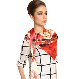 Attractive Red Flower Spread Over Long Mulberry Silk Scarf