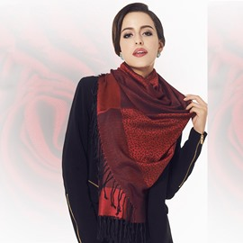 Dark Red Leopard Pattern Tassel Cotton Long Scarf