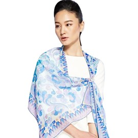 Light Blue Flower and Clouds Pattern Mulberry Silk Blue Long Scarf