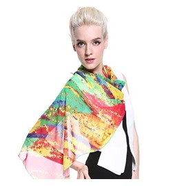 Orange And Green Mix Diagonal Pattern Long Silk Scarf