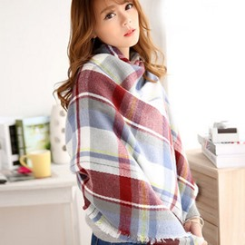Colorful Fashion Checkered Stripes Style Design Cashmere Long Scarves
