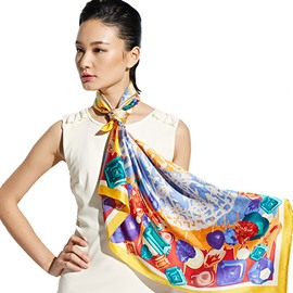 Fashion Gorgeous Colorful Gems Mulberry Silk Yellow Square Scarf