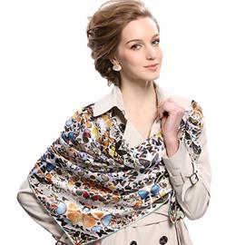 Elegant Fashion Butterflies Print Mulberry Silk Gray Square Scarf