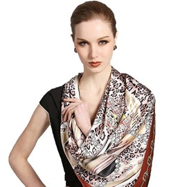 Deluxe Brown Leopard and Chains Patterns Mulberry Soft Silk Square Scarf
