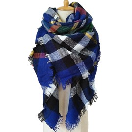 Women Plaid Blanket Scarf Warm Winter Tartan Wrap Shawl Stylish Cashmere Square Scarves