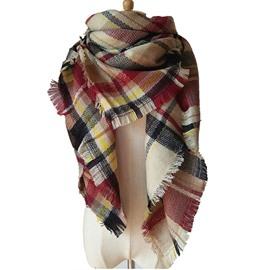 Lady Women's Lattice-Like Contrast Color Design Sheer Shawl Wrap Warm Cashmere