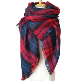 Burst Models Fascinated Main Red Checkered Warm Square Scarves