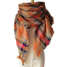 Women's Cozy Tartan Blanket Scarf Wrap Shawl Neck Stole Warm Plaid Checked Square Scarves