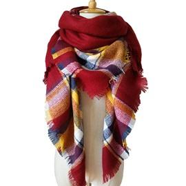 Fresh Bright Contrast Color Style Design Cashmere Long Scarves