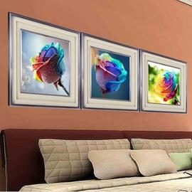 Wonderful 3-Piece Rainbow Multi-Color Roses DIY Diamond Sticker