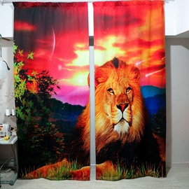 3D Ferocious Lion with Sunset Printed Thick Polyester 2 Panels Custom Curtain