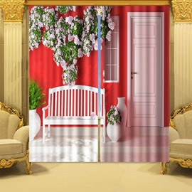 3D Pink Floral House Printed Thick Polyester 2 Panels Blackout and Decorative Curtain