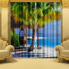 3D Coconut Trees and White Beach in Seaside Printed Polyester Custom Living Room Curtain
