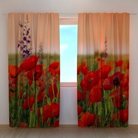 3D Beautiful Red Flowers Printed 2 Panels Custom Curtain for Living Room
