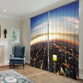 Amazing and Grand City Scenery Polyester 2 Pieces Living Room and Bedroom 3D Curtains